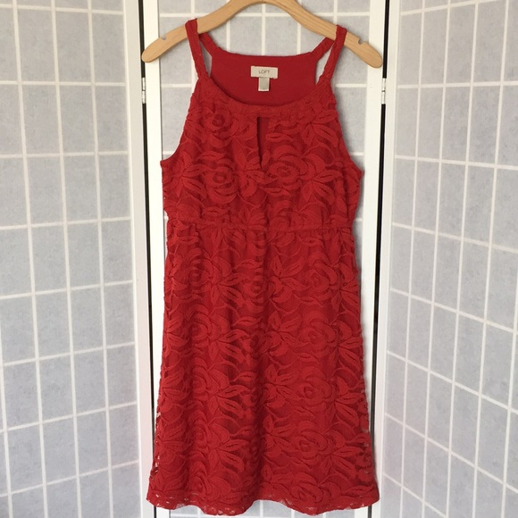 LOFT Dresses & Skirts - Ann Taylor LOFT Red Floral Lace Halter Neck Dress